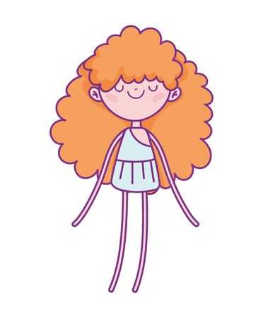 happy valentines day, cute cupid with long curly hair cartoon illustration Ilustrace