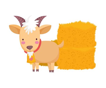 goat and hay stack farm animal cartoon