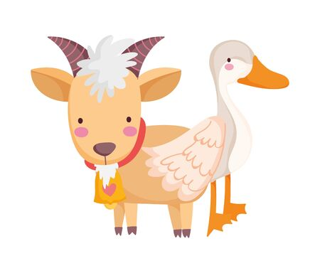 goose and goat farm animal cartoon vector illustration