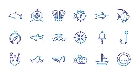 marine life nautical sea animals and equipment thick line blue icons vector illustration