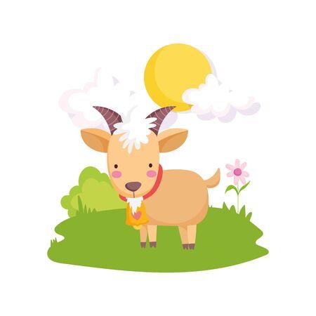 goat with bell flower grass sun farm animal cartoon vector illustration