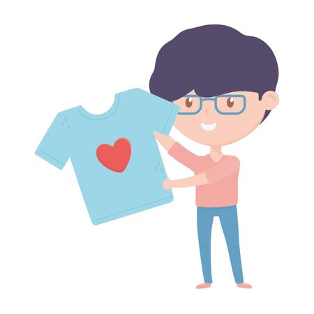 young man holding shirt love charity and donation vector illustration