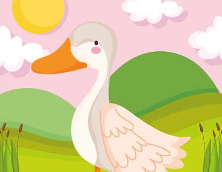 goose bird grass sun clouds farm animal cartoon vector illustration 일러스트