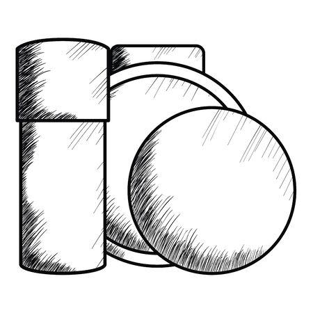 blush and bottle make up drawing icon vector illustration design