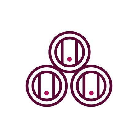 stacked barrels wine celebration drink beverage icon vector illustration line and filled