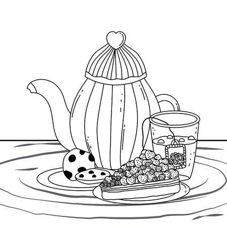 Coffee pot and cake design, Drink breakfast beverage bakery restaurant and shop theme Vector illustration Çizim