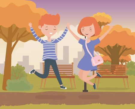 happy couple celebrating in the park scene vector illustration design Ilustração