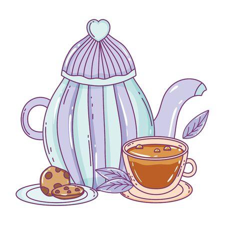 Coffee pot design, Drink breakfast beverage bakery restaurant and shop theme Vector illustration Çizim
