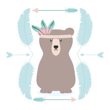 bear grizzly with feathers hat and frame vector illustration design Ilustracja