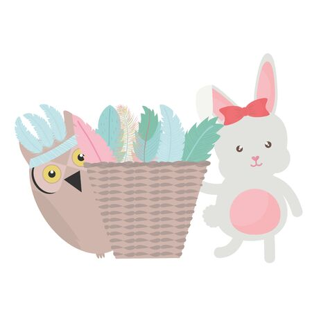 owl bird and rabbit with feathers hat and basket straw vector illustration design Ilustracja
