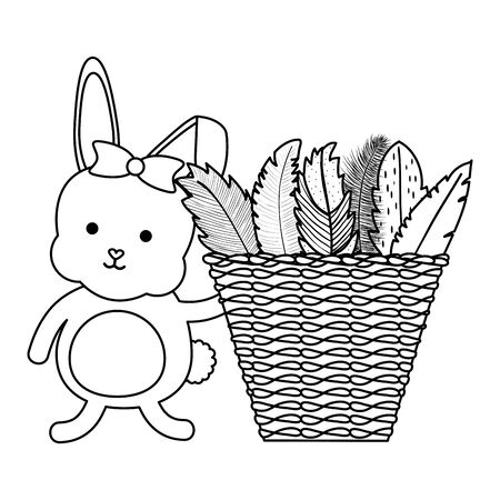 cute little rabbit with basket straw and feathers vector illustration design Banco de Imagens - 138442692