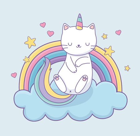 cute cat with rainbow tail on the clouds kawaii character vector illustration design