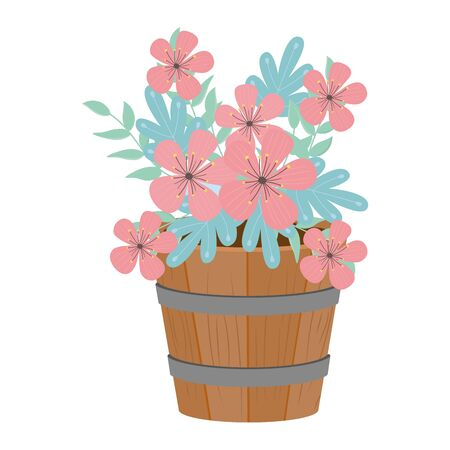 Flowers and leaves inside barrel design, floral nature plant ornament garden decoration and botany theme Vector illustration