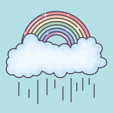 clouds rainy sky with rainbow weather vector illustration design