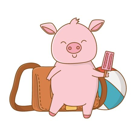 cute animal pig enjoying vacations and summer time, travel and relax cartoon vector illustration graphic design