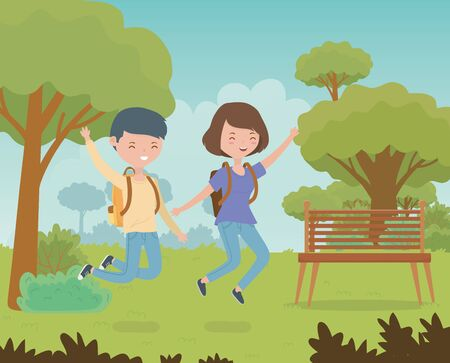 happy couple celebrating in the park scene vector illustration design