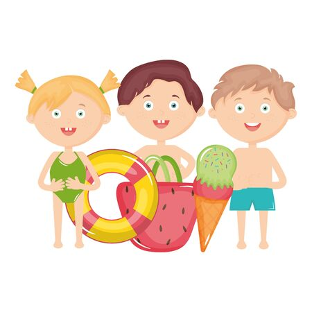 cute little kids with swimsuit and summer icons vector illustration design