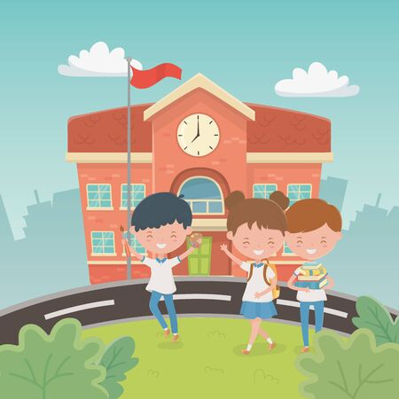school building with kids in the landscape scene vector illustration design