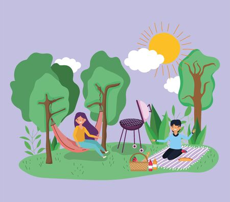 young woman resting hammock man on blanket with basket picnic in the park vector illustration