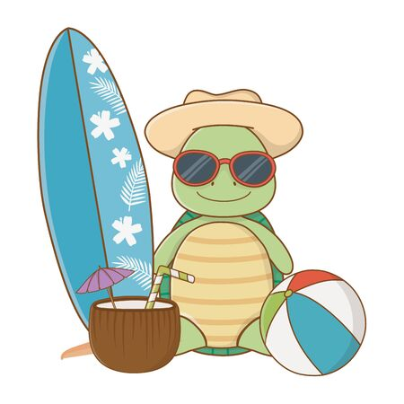 cute animal turtle enjoying summer time vacations holidays cartoon vector illustration graphic design