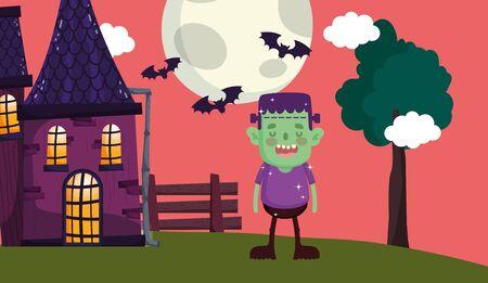 frankenstein costume house moon night halloween vector illustration  イラスト・ベクター素材