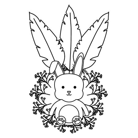 cute little rabbit with flowers and feathers frame vector illustration design