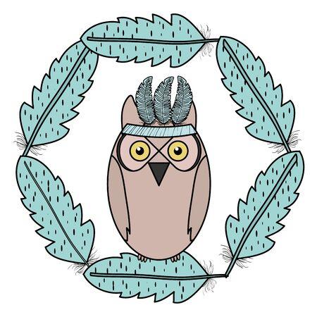 owl bird with feathers hat frame bohemian style Zdjęcie Seryjne - 138442771