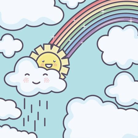 cute summer sun and clouds rainy with rainbow kawaii characters Illustration