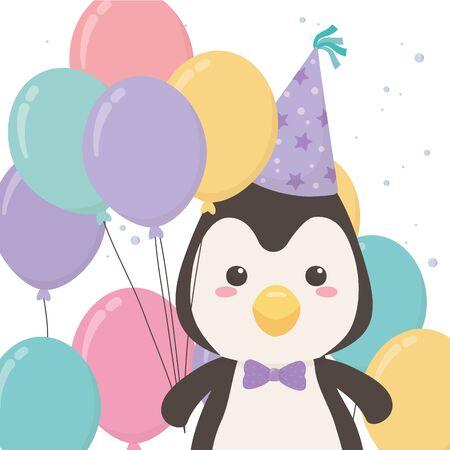 Penguin cartoon with happy birthday icon design
