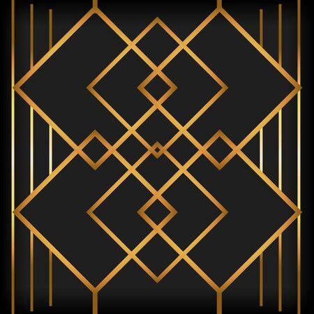 fond noir art déco lignes dorées style rétro vector illustration