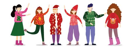 family wearing ugly sweater party merry christmas, happy new year vector illustration