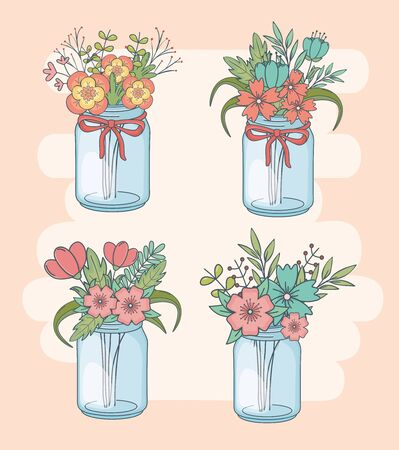 set of jars with floral decorations