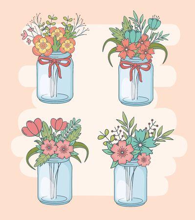 set of jars with floral decorations Stok Fotoğraf - 138475451