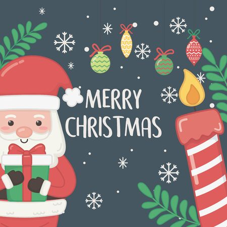 merry merry christmas card with santa claus and gift vector illustration design Standard-Bild - 138476000