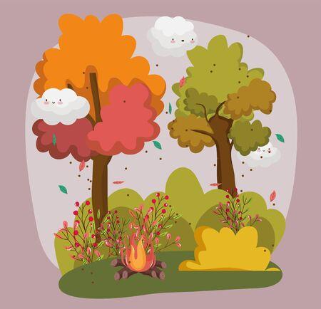 hello autumn season campfire landscape nature foliage vector illustration