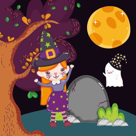 girl cat ghost with hat costume halloween image vector illustration