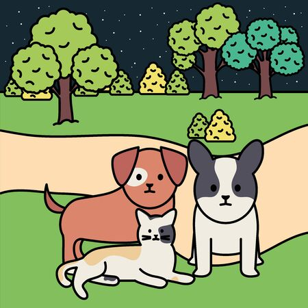little dogs and cat in the park vector illustration design Ilustração