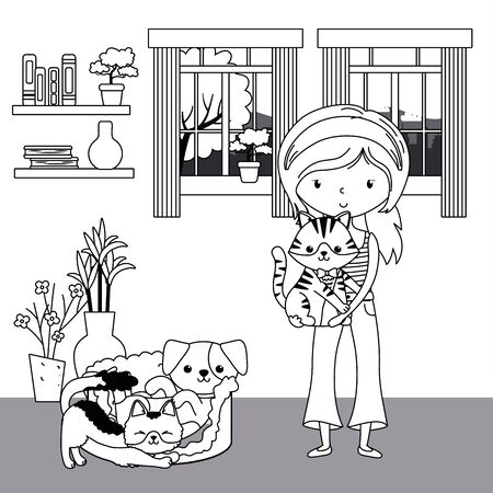 Girl with cats and dog cartoon design, Mascot pet animal domestic cute life nature and fauna theme Vector illustration