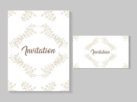 set invitation cards with leafs golden calligraphy vector illustration design