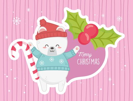 cute polar bear candy cane holly berry merry christmas vector illustration  イラスト・ベクター素材