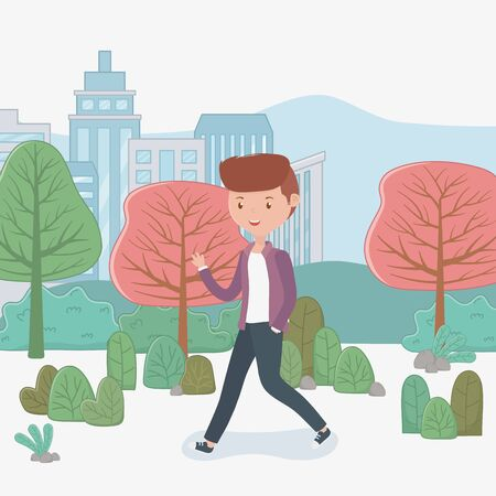 young businessman walking in the park vector illustration design