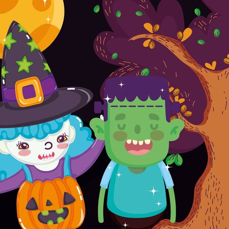 boy and girl with frankenstein witch costume halloween image vector illustration