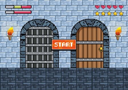 castles doors with torches and notice message with life bars to videogame scene vector illustration  イラスト・ベクター素材