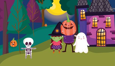 skeleton witch ghost and pumpkin costume trick or treat - happy halloween vector illustration