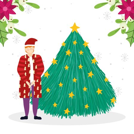 merry christmas man with coat and hat tree decoration celebration vector illustration Standard-Bild - 138475929