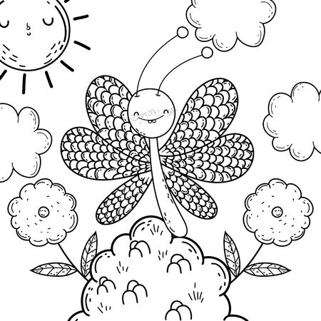 Butterfly draw cartoon design, insect animal wings nature summer beauty and spring theme Vector illustration