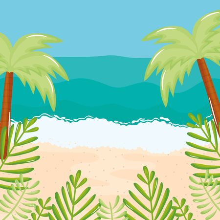 beach seascape with trees palms summer scene vector illustration design