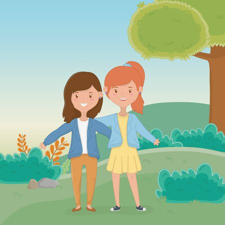 Girls cartoons design, Firiendship together friends happy people and young theme Vector illustration Ilustração
