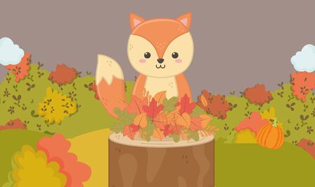 cute squirrel in the trunk with leaves hello autumn vector illustration