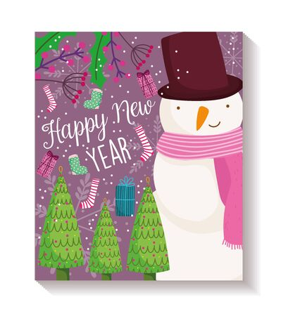 happy new year snowman trees gift sock decoration poster vector illustration